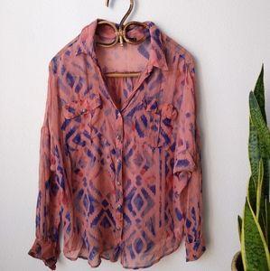 Gypsy 05  100% silk Tie Dye Button down shirt